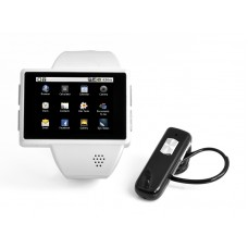 """Android Phone Watch """"Commander"""" 2 Inch Capacitive Screen, 8GB Micro SD, 2MP Camera (White)"""